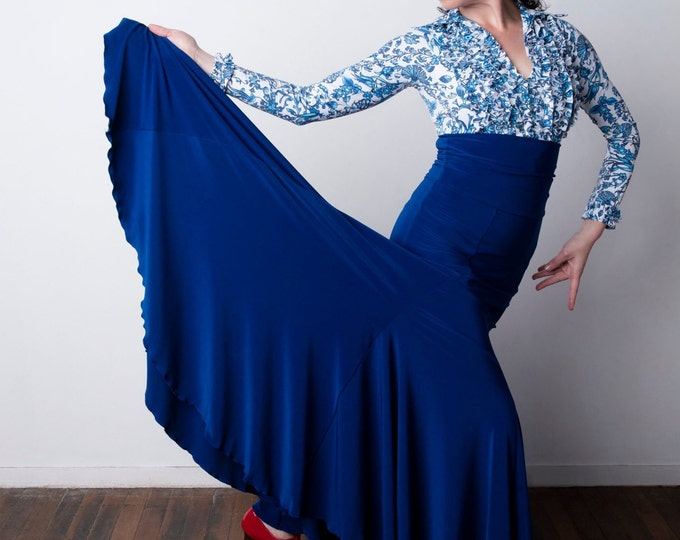 Electric Blue FISHTAIL Flamenco skirt