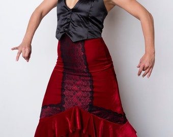 Red velvet ROSA Flamenco skirt with red and black lace trim