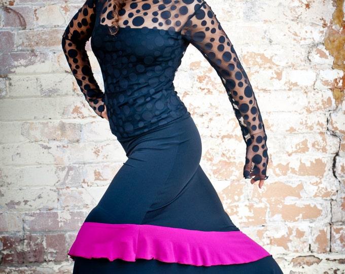 Black ANTONIETA Flamenco skirt with magenta frill