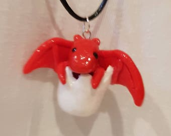 welsh  dragon in egg charm necklace