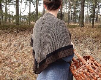 Knitted shawl,  wool shawl, Claire shawl wrap, highlands shawl, triangular chunky shawl, Outlander inspired brown shawl, Scotland style