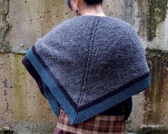 Knitted shawl, wool shawl, Claire shawl wrap, highlands shawl, triangular chunky shawl, gray shawl, Scotland style