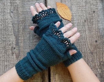 Knitted gloves, fingerless gloves, knitted mittens, arm warmers, green gloves, boho mittens, wool gloves, boho gloves, hand knit gloves