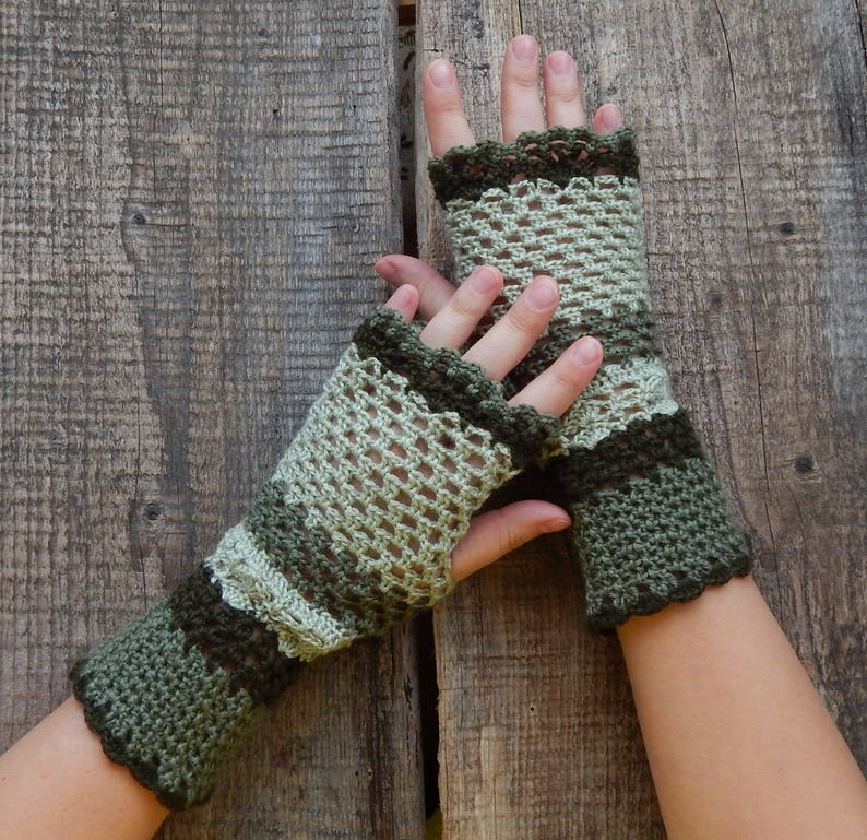 Crochet Fingerless Gloves Women Knitted Mittens Green Lace Etsy