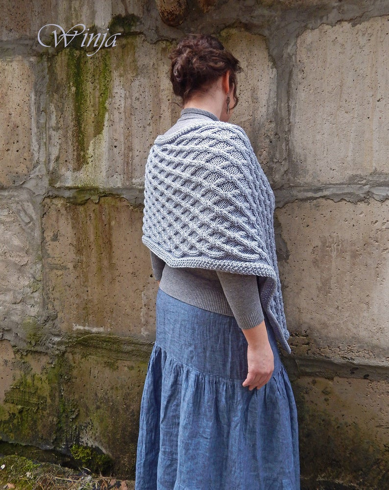 83eaceb721a Knitted poncho poncho sweater knitted shawl gray knitted
