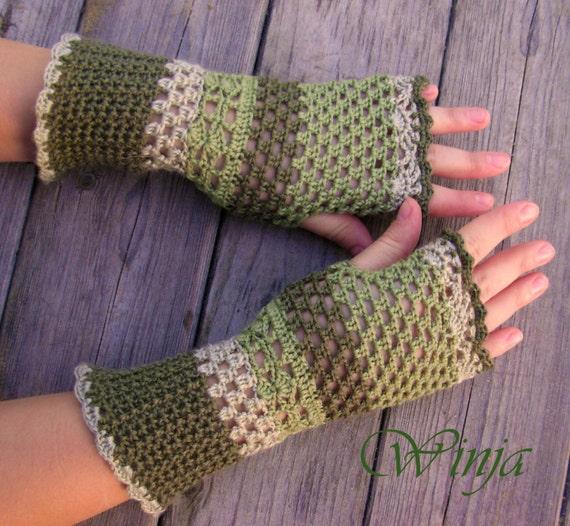 Haak Vingerloze Handschoenen Arm Warmers Haak Wanten Gebreide Etsy