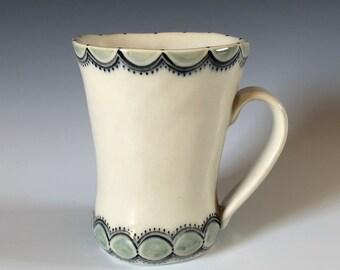 Handmade Ceramic Mug with Simple Decoration