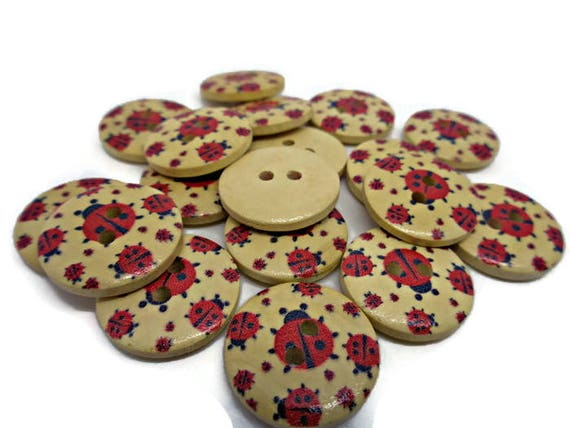 10 x 18mm white and blue multi flower pattern wooden buttons