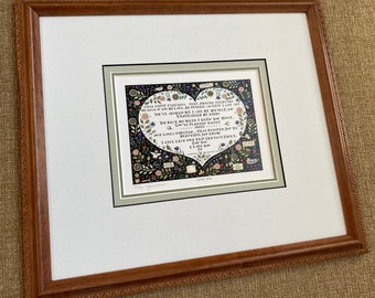 Catherine Grunewald, Folk art, I Love You, limited edition, offset lithograph, custom framed, Garden Art, Anniversary art, Grunewald