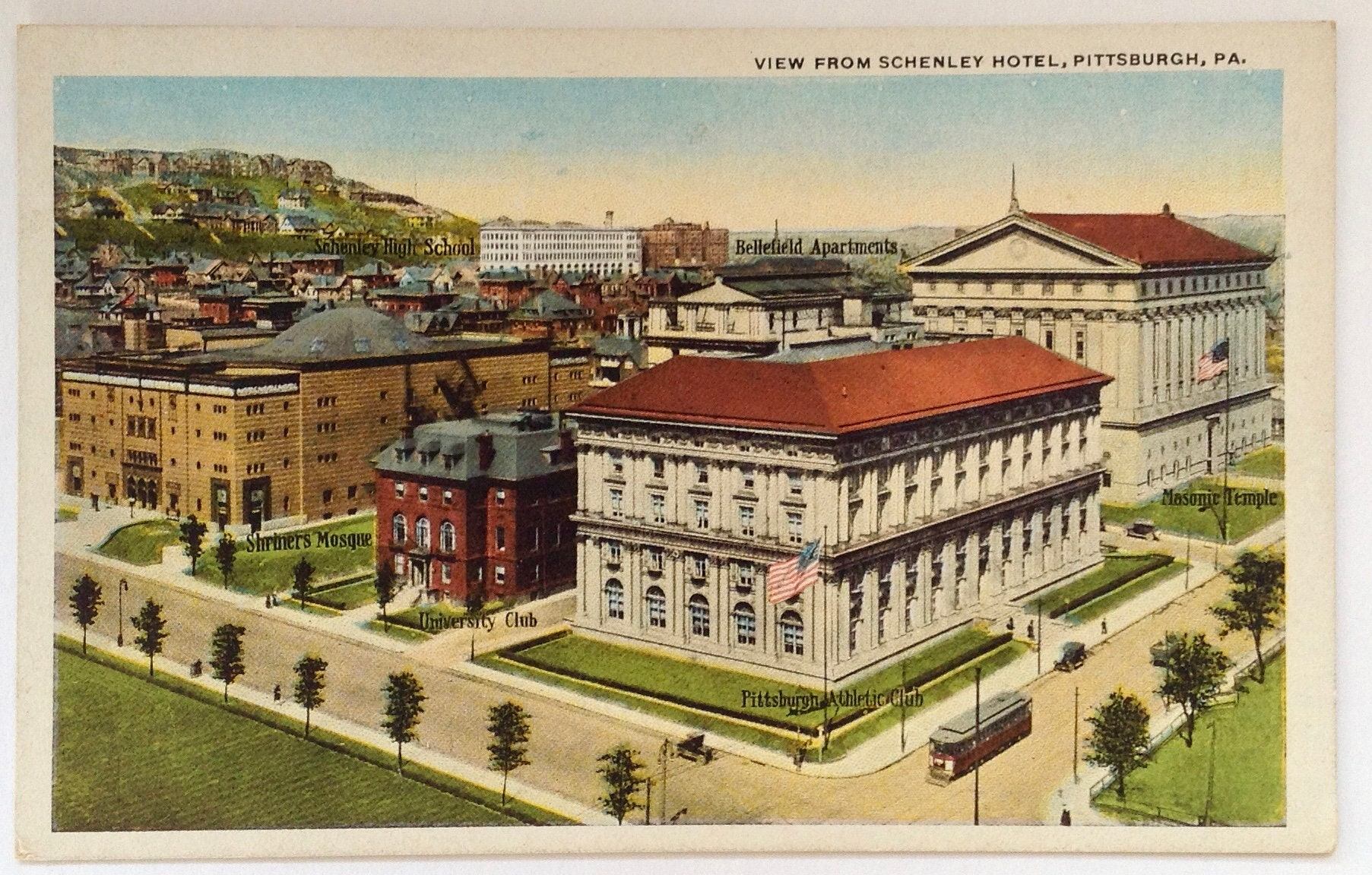 Pittsburgh Vintage Postcard View from Schenley Hotel | Etsy