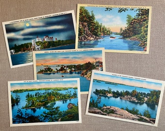 Thousand Islands, Vintage Postcards, Thousand Island postcards, Grenell Island, Out of Sight Channel, Boldt Castle, Heart Island, Lot of 5