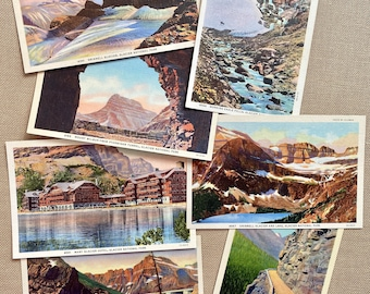 Glacier National Park, Glacier vintage postcards, lot of seven, Gould, Grinnell Glacier, Hotel,Mt Wilbur, Ptarmigan, Morning Eagle Falls