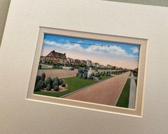 Margate Parkway, Vintage Postcard, Margate NJ,  Ventnor Ave, Matted for framing, 8 x 10, real vintage not copy, Longport, Margate souvenir