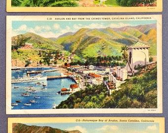 Catalina Island postcard, Vintage Postcards, Santa Catalina, Lot of 3, Avalon Bay postcards, Linen postcard, Kitsch, 1930's, Casino