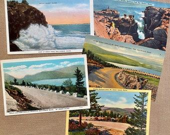 Acadia National Park, Maine, Vintage Postcards, Mt. Desert Island, Bar Harbor Maine, Thunder Hole,Eagle Lake, Cadillac mountain