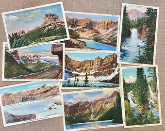 Glacier National Park, Glacier vintage postcards, lot of eight, Trick Falls, Iceberg Lake, Heavens Peak, Sperry Glacier, Chief Mt, avalanche