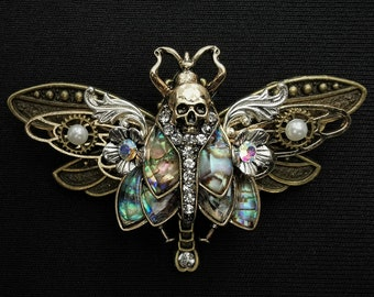 Gothic Art nouveau Death's Head Hawkmoth and bronze dragonfly pin brooch + abalone-style inlays, half pearls, & diamante rhinestone crystals