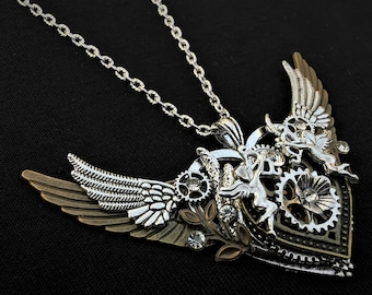 Romantic winged heart-shaped Valentine's Day pendant necklace in silver and bronze with miniature Cupid Eros charms, flowers, & rhinestones
