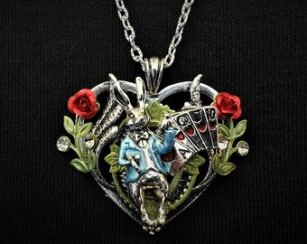 Hand-painted White Rabbit heart-shaped pendant necklace - Alice in Wonderland-inspired jewelry with playing card charms