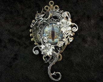 Stunning Gothic Fantasy Steampunk dragon jewellery pin brooch badge + icy blue eye beneath a curled silver dragon - Game of Thrones-inspired