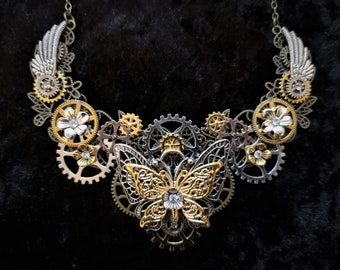 Steampunk butterfly jewellery - gorgeous articulated necklace with silver & gold filigree butterflies and rhinestone diamante crystals