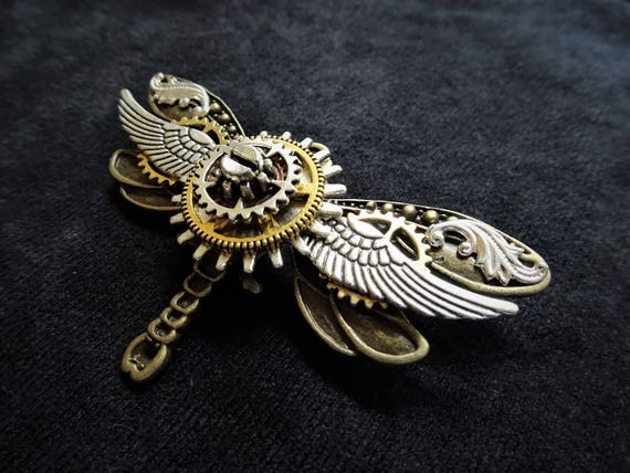 steampunk jewellery brooch badge pin dragonfly purple fantasy insect wings fae
