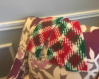 Christmas Argyle Scarf- Red, Green, and White