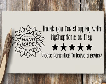 Etsy Seller Review Request Stamp Self Inking Wooden Handle Please Leave A Review Thank You For Your Purchase Black Red Blue Purple Green 285