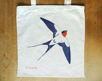 Ascending swallow cotton tote bag