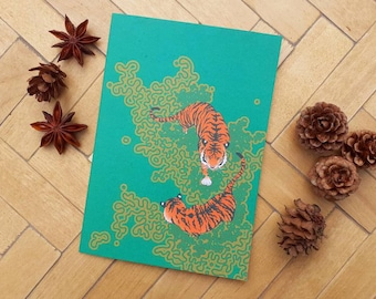 River Tigers A6 greetings card