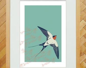 Ascending Swallow A4 print