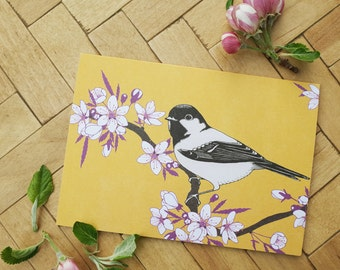 Cherry blossom & coal tit greetings card