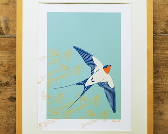 Ascending swallow limited edition A3 print
