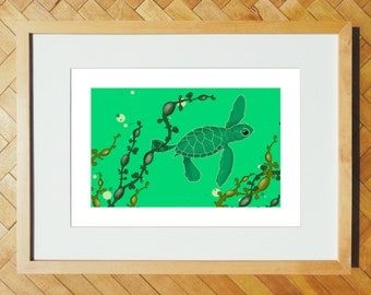 Baby sea turtle A4 print