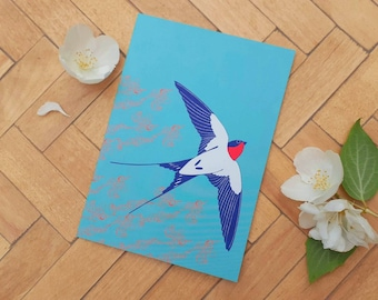 Ascending Swallow A6 greetings card
