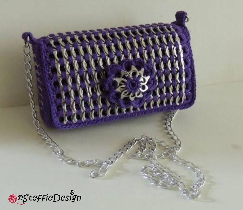 Pop tab purse with replaceable flower crochet pattern PDF NEDERLANDS DUTCH *not English*