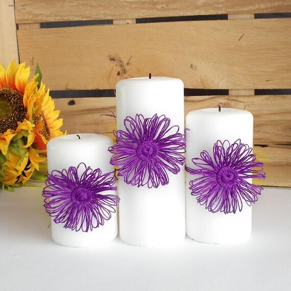 Entzuckend Violett Hochzeit Kerze Ring Rustikalen Stil Hochzeit Tisch | Etsy