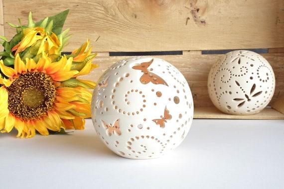 Schmetterling Keramik Kerze Laterne Outdoor Herzstück | Etsy
