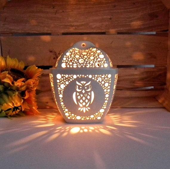 Halloween Dekoration Schwarz Eule Kerze Teelichthalter /& LED Teelichter Neu