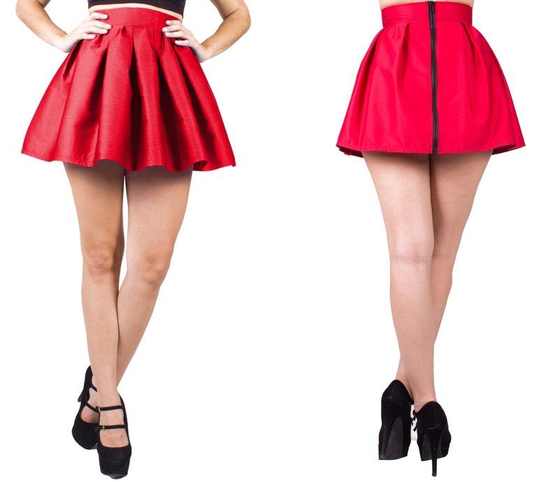 Pleated Skirt Midi Red Skater Skirt Red Skirt Girls Skater Skirt Women Short Pleated Skirt Pleated Skirt Circle Skirt Red Skirt Women