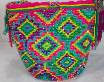 Beaded Colombian Mochila, Wayuu Bag, Shoulder Bag, Rhinestones Bag, Decorated Bag