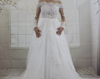 Luxury Sexy Illusion Neckline Ball Gown Lace See Through Back Wedding Dress Long Sleeves White Bridal