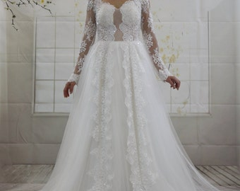 Romantic Long Sleeves Ivory Lace Applique Ballgown Wedding dress