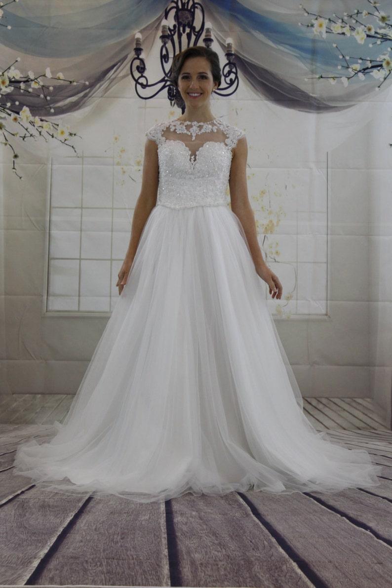 Princess Illusion Neckline Heavy Top Beadings A line Wedding image 0