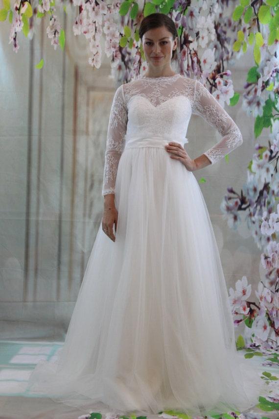 Lange Armel Spitze Hochzeit Kleid Weisse Spitze Brautkleid Etsy