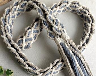 Stone, ivory, gray shades ~ braided handfasting cord ~ 100% recycled cotton ~ ethical wedding ribbon ~ handbinding ~ Celtic elven braid