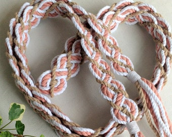 Blush and spice braided handfasting cord ~ 100% recycled cotton ~ ethical wedding ribbon for handbinding ~ Celtic elven braid ~ the original