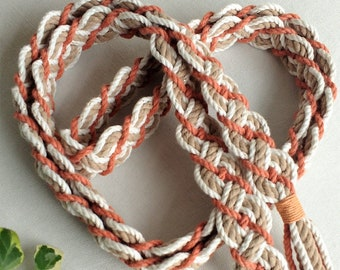 Burnt orange, spice, ivory gold fleck braided handfasting cord ~ 100% recycled cotton ~ ethical wedding ribbon ~ handbinding ~ Celtic braid
