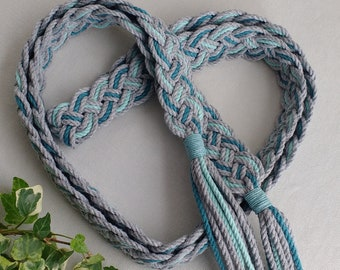Teal, aqua blue and silver gray Celtic braid handfasting cord ~ Oeko-Tex recycled cotton ~ natural, ethical and eco friendly wedding ribbon