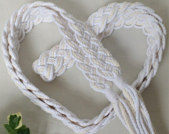 Ivory and white Celtic braid natural wedding cord ~ Oeko-Tex recycled cotton ~ vintage style handfasting cord ~ ethical eco wedding ribbon